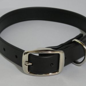 An image of a black biothane dog collar from TheUltimateLeash.com