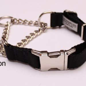 An image of a black martingale dog collar from the Martingale Collar Fashion Series