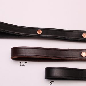 An image of three different-sized leather dog leads from TheUltimateLeash.com