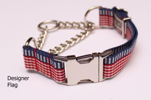 An image of an American flag martingale dog collar from the Martingale Collar Designer Series