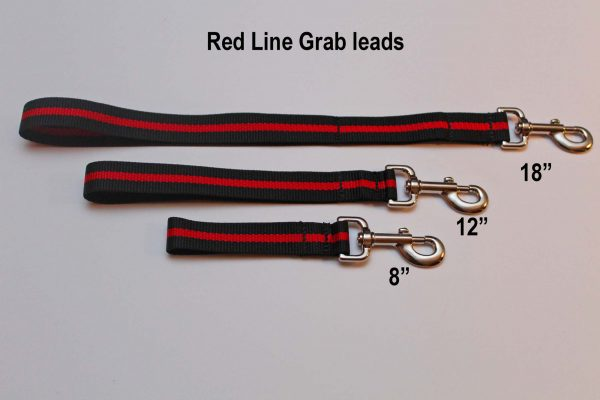 An image of three different-sized Red Line dog leads from TheUltimateLeash.com