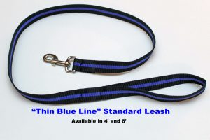 An image of a Thin Blue Line standard dog leash from TheUltimateLeash.com